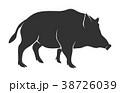 イボイノシシ 人影 影のイラスト 38726039