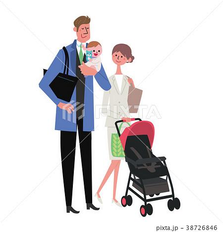 子育て 共働き 夫婦 イラスト 38726846