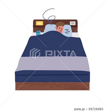 ベッドで眠る 不眠症 男性 イラスト 38726983