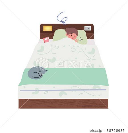 ベッドで眠る 不眠症 女性 イラスト 38726985