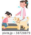 盲導犬に話しかけられて困る女性 38728879