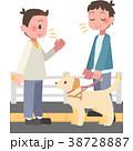 視覚障害者に話しかける男性 38728887