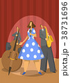 Jazz music trio. Contrabassist, saxophonist and 38731696