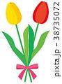 花 チューリップ リボンのイラスト 38735072