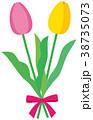 花 チューリップ リボンのイラスト 38735073