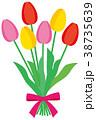 花 チューリップ リボンのイラスト 38735639