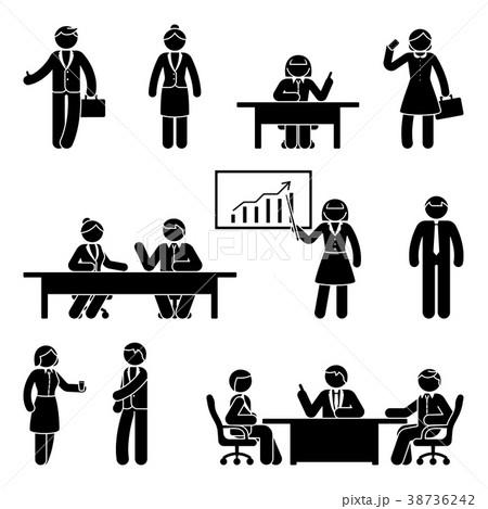 stick figure business report icon setのイラスト素材 38736242 pixta