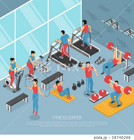 Fitness Center Interior Isometric Poster  38740266