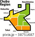 中部 地図 分布図のイラスト 38751687