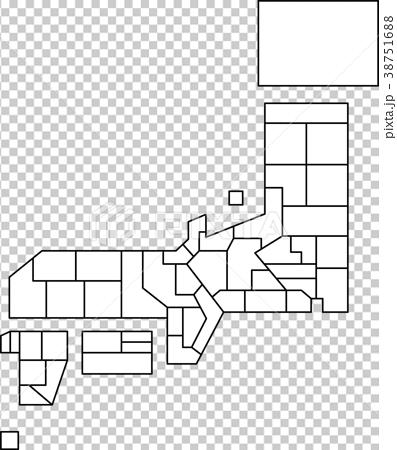 日本地図-県境の簡略図 38751688