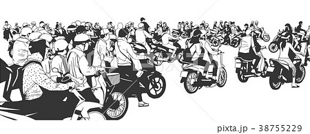 Vector illustration of rush hour traffic in asia 38755229