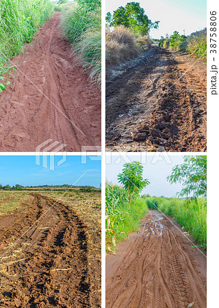 Off-road track in country farm 38758806