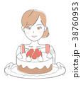 女性 ケーキ 38760953