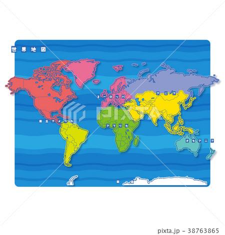 セカイ地図 地域色分け(日本語) 38763865