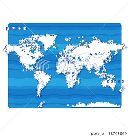 セカイ地図 白地図(日本語) 38763869