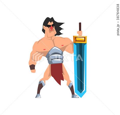 Powerful hero with luminous sword, fantasy 38764838
