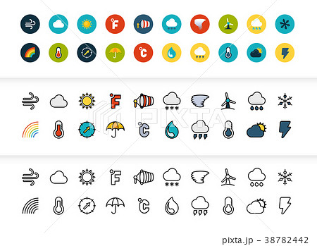 Black and color outline icons, thin stroke line 38782442