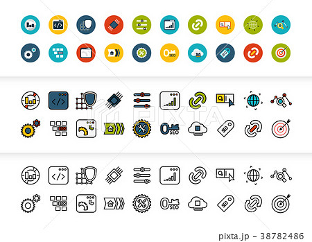 Black and color outline icons, thin stroke line 38782486
