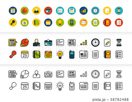 Black and color outline icons, thin stroke line 38782488