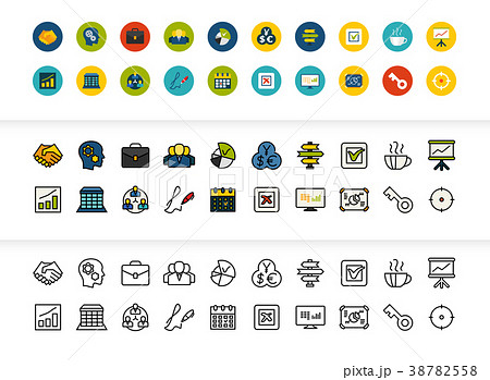 Black and color outline icons, thin stroke line 38782558