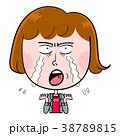 涙を流して叫ぶ女性 38789815