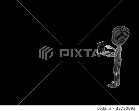 パソコンを操作するperming3DCGイラスト素材 38790993