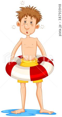 Sleepy man in rubber float 38793948