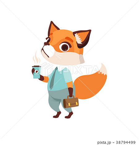 Cute fox businessman character in formal wear with 38794499