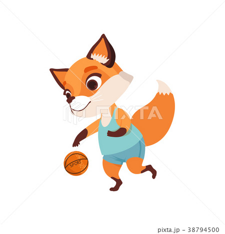 Cute fox character playing basketball, funny 38794500