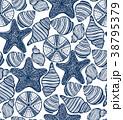 Shell Urchin and Starfish Hand-Drawn Pattern 38795379