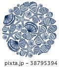 ベクトル 手描きの 貝のイラスト 38795394