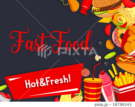 Vector fast food restaurant meals menu poster 38796343