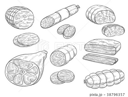 Vector sketch iocon of meat and sausage products 38796357