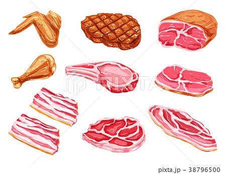 Vector meat products watercolor paint icons 38796500
