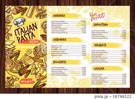 vector italian pasta restaurant menu templateのイラスト素材