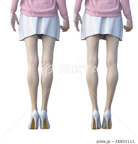 O脚の女性 比較 perming3DCGイラスト素材 38803111