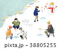 Illustration - Enjoy winter season. Have fun enjoy winter activities with family or friends. 006 38805255