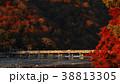 11月秋 紅葉の嵐山渡月橋の朝  京都の秋景色 38813305