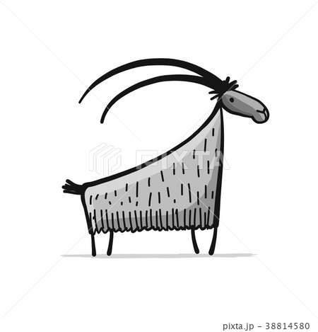 Funny goat, simple sketch for your design 38814580