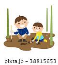 竹林で筍狩りをしている父と息子、親子二人のイラスト。 38815653