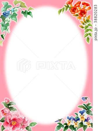 水彩で描いた四季の植物のフレーム素材 38820283