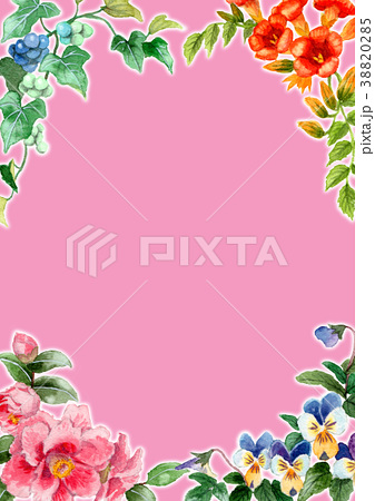水彩で描いた四季の植物のフレーム素材 38820285