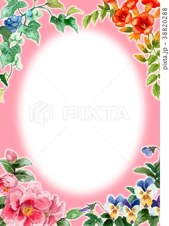 水彩で描いた四季の植物のフレーム素材 38820288