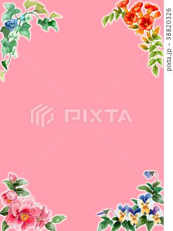 水彩で描いた四季の植物のフレーム素材 38820326