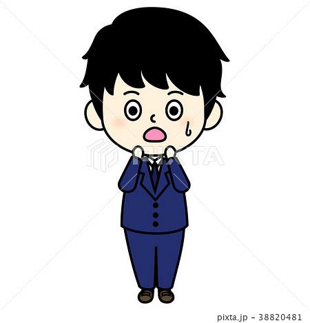 使いやすい 男性 キャラクター 困り顔 イラスト 素材 スーツ ビジネス