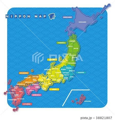 ニホン地図 地域色分け(英語) 38821807