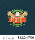 ロゴマーク ベースボール 白球のイラスト 38824759