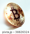 Bitcoin coin photo close-up. Crypto currency 38826324
