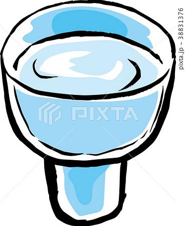 日本酒ガラスのおちょこ筆イラスト カラー 38831376