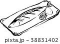 サンマの塩焼き筆イラスト モノクロ 38831402